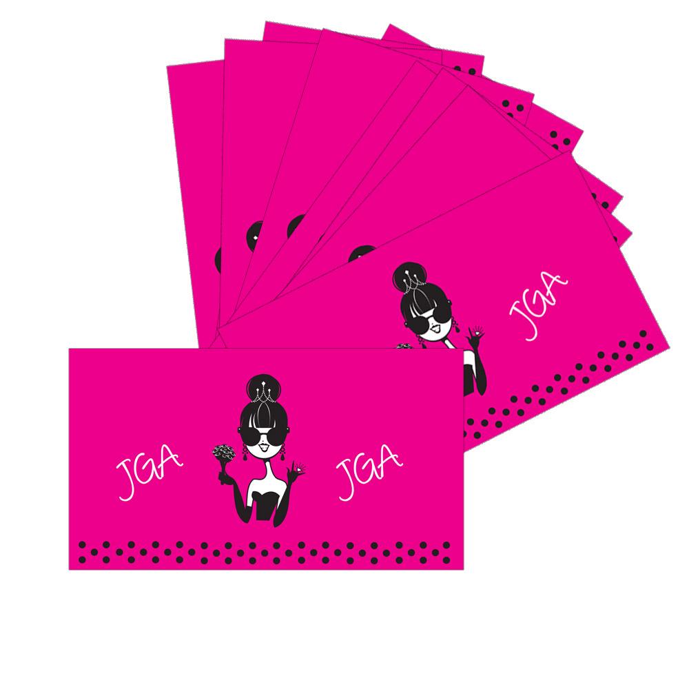 Pinkfarbene JGA Dosenbanderolen mit Dolly Braut-Motiv