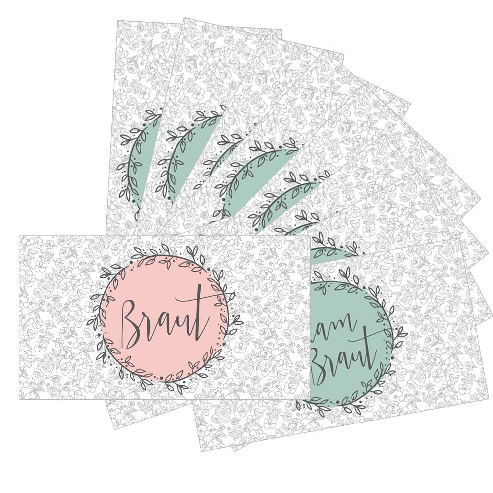 JGA-Dosenaufkleber im Blumen-Design - Braut und Team