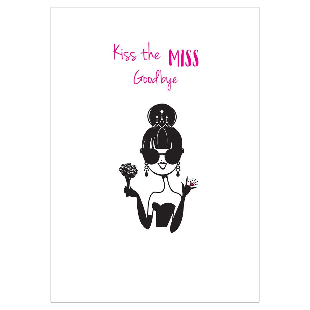JGA-Erinnerungs-Poster im Comic-Braut-Design - Kiss the Miss Goodbye