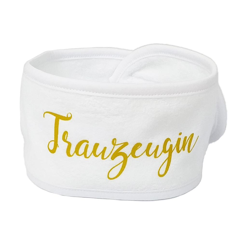 JGA-Wellness-Haarband mit goldfarbenem Trauzeugin-Schriftzug