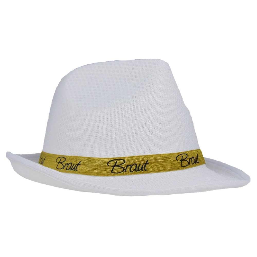 Weisser Gangster-Hut mit Braut-Hutband fuer den JGA