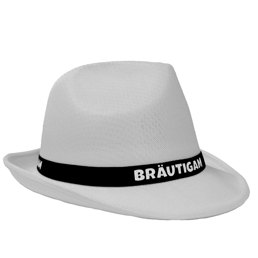 Weißer JGA-Hut mit schwarzem Bräutigam-Hutband