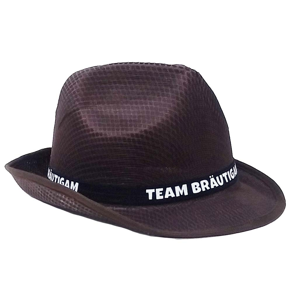 Brauner JGA Gangster-Hut mit Team Braeutigam-Hutband