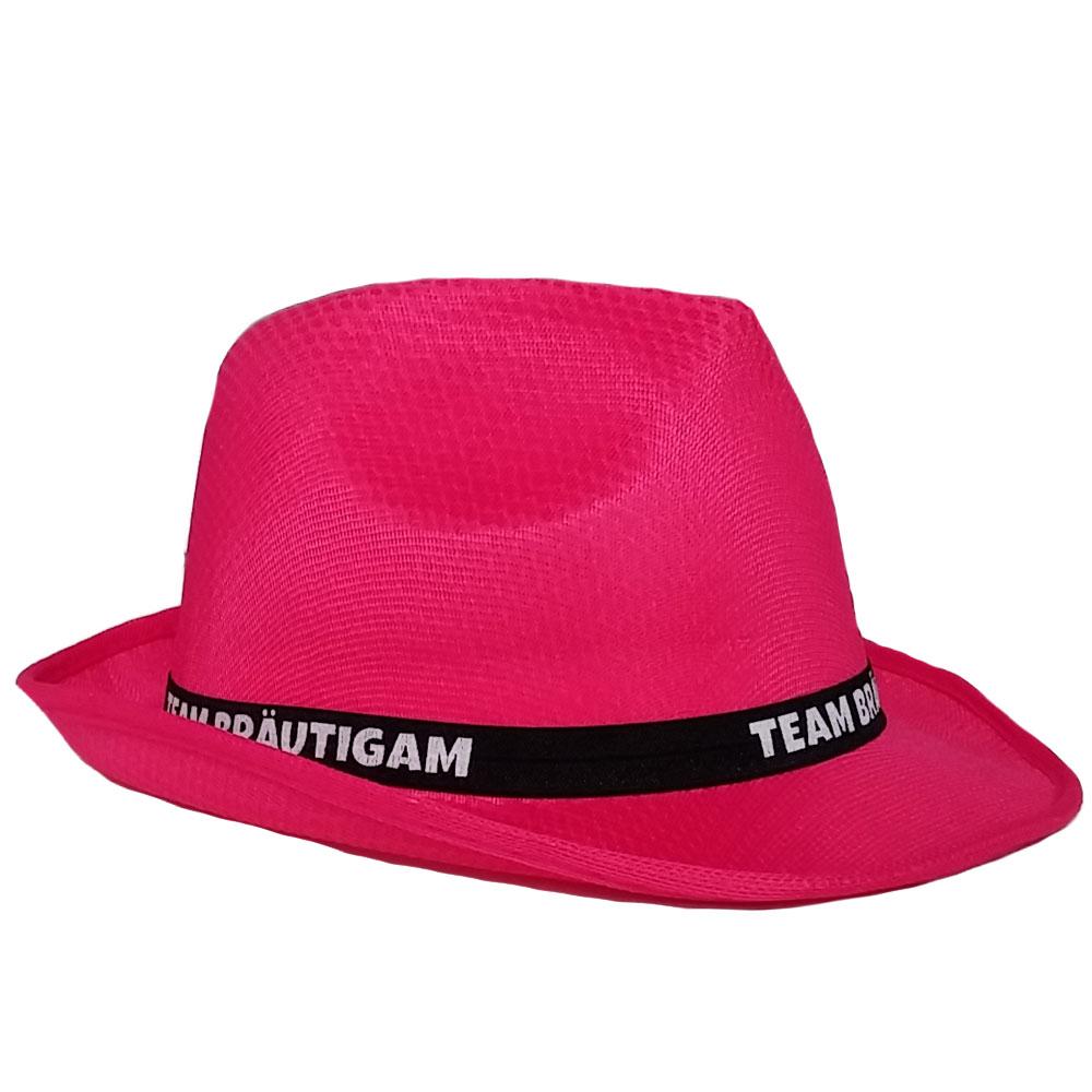 Pinkfarbener JGA Gangster-Hut mit Team Braeutigam-Hutband