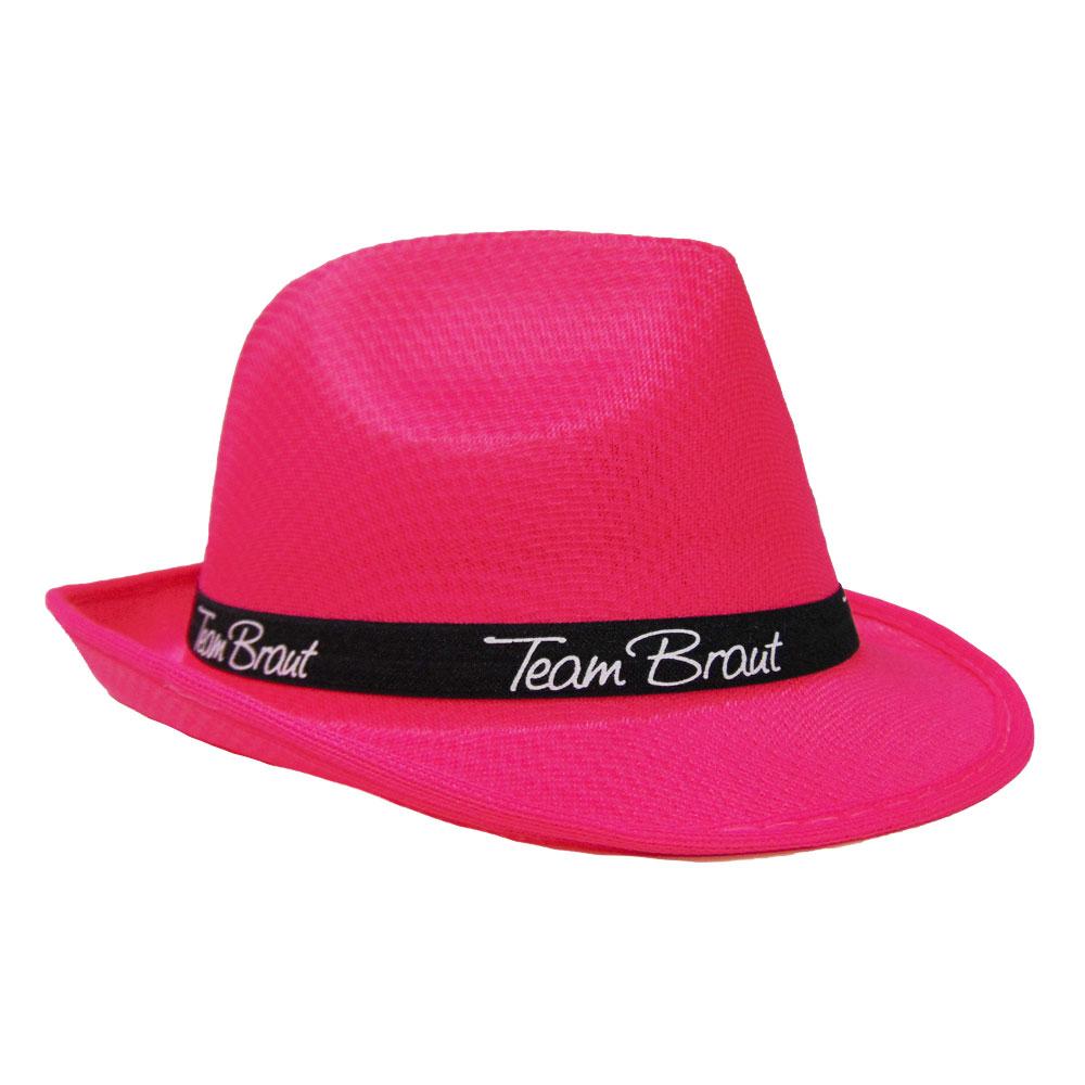 Pinker Junggesellinnenabschied-Hut mit Team Braut-Hutband