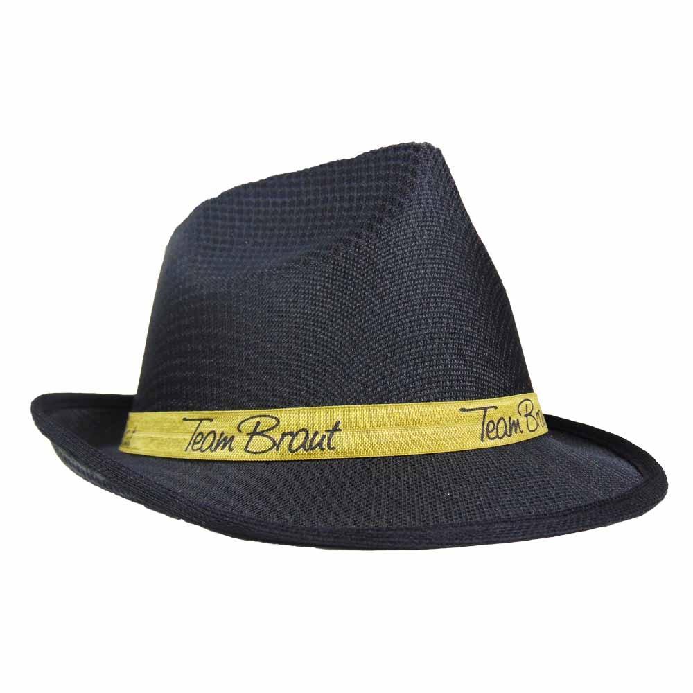 Schwarzer JGA-Hut im Gangster-Stil mit Team Braut-Hutband