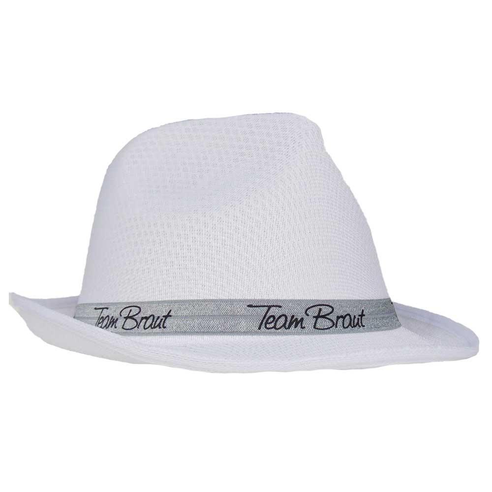 Weisser Junggesellinnenabschied-Hut mit Team Braut-Hutband