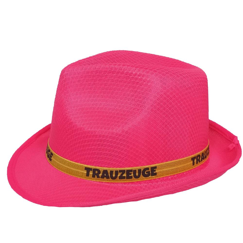 Pinkfarbener JGA Gangster-Hut mit Trauzeuge-Hutband