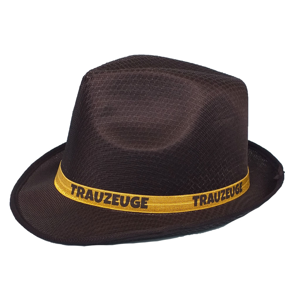 Schwarzer Trauzeugen JGA-Hut mit goldfarbenem Hutband