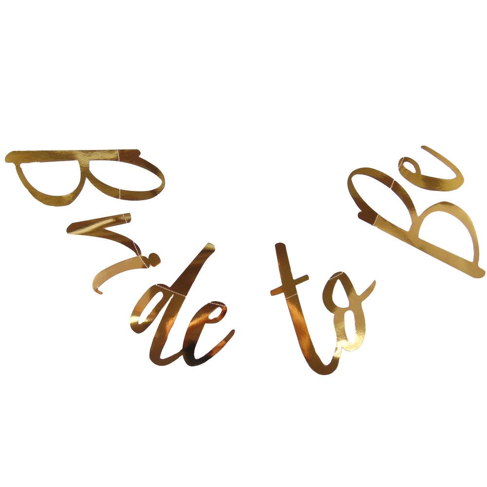 Goldfarbene JGA Deko-Girlande mit Bride to be-Schriftzug