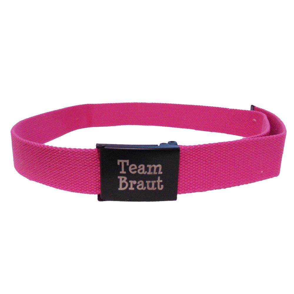 Pinkfarbener JGA Guertel mit schwarzer Team Braut-Schnalle