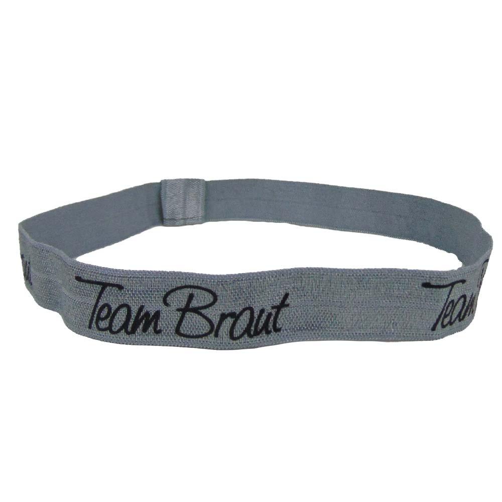 Silberfarbenes JGA Haarband mit Team Braut-Aufdruck