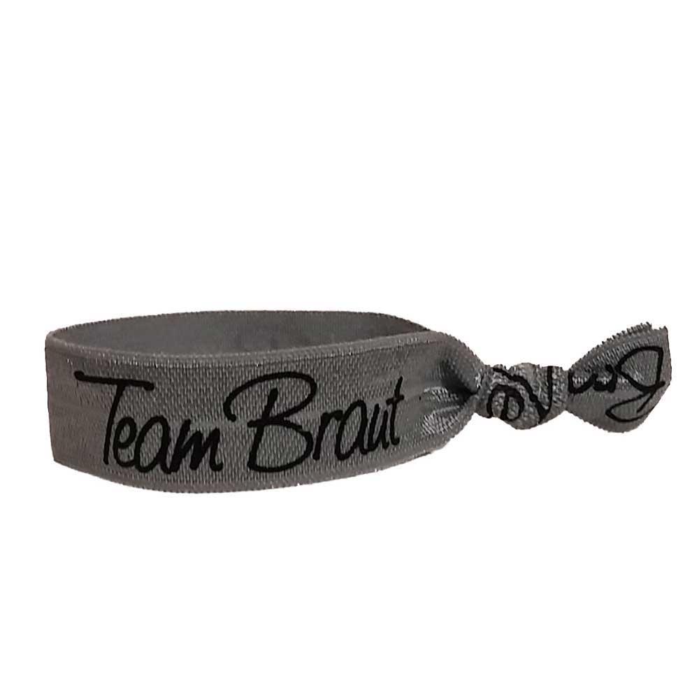 Silberfarbenes Haargummi mit Team Braut-Schriftzug