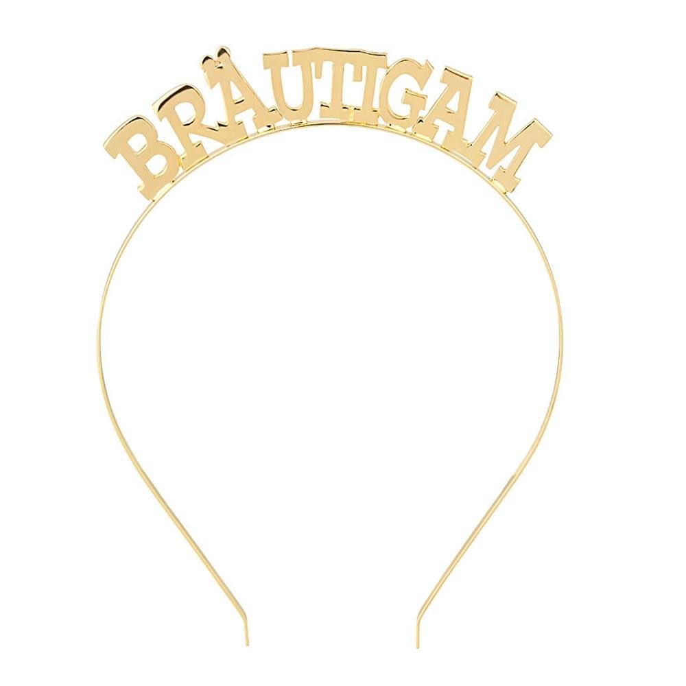 Goldfarbener JGA-Haarreif mit Braeutigam-Aufschrift