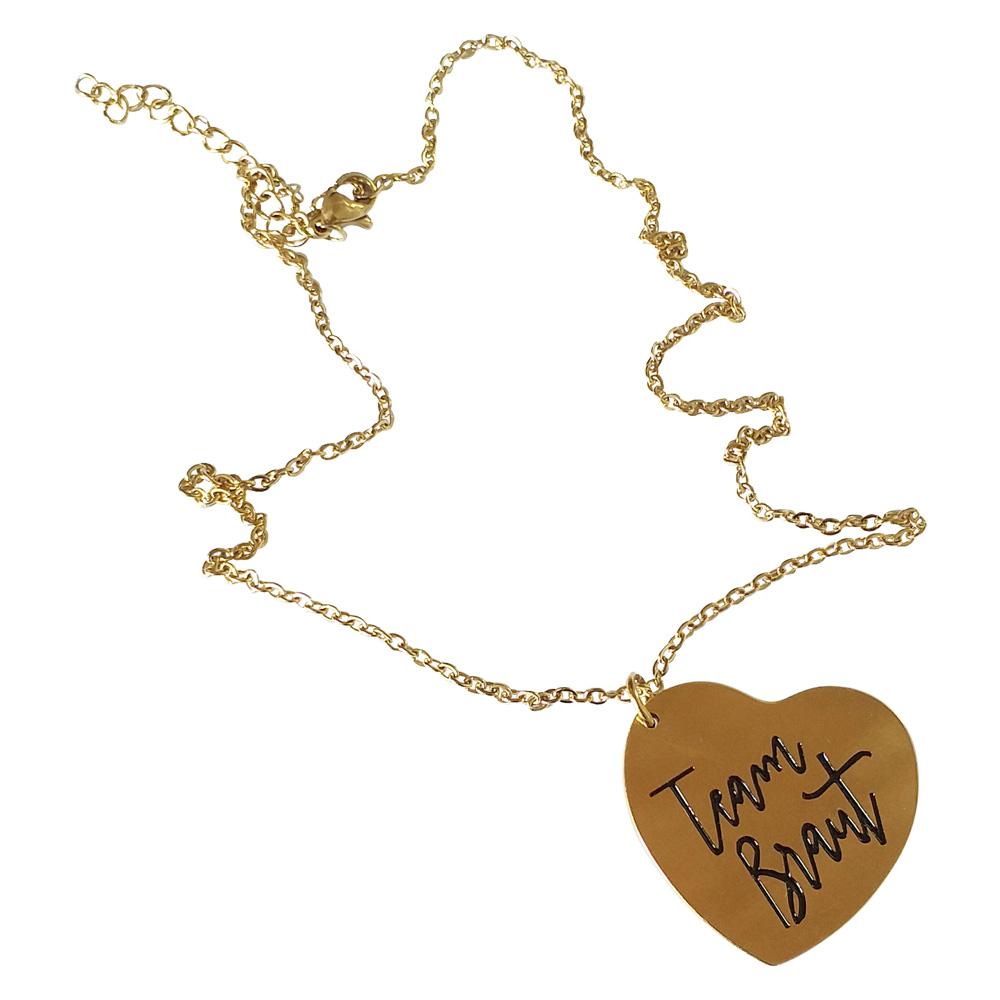 Goldfarbene Team Braut JGA-Halskette mit Herz-Schmuck-Anhänger
