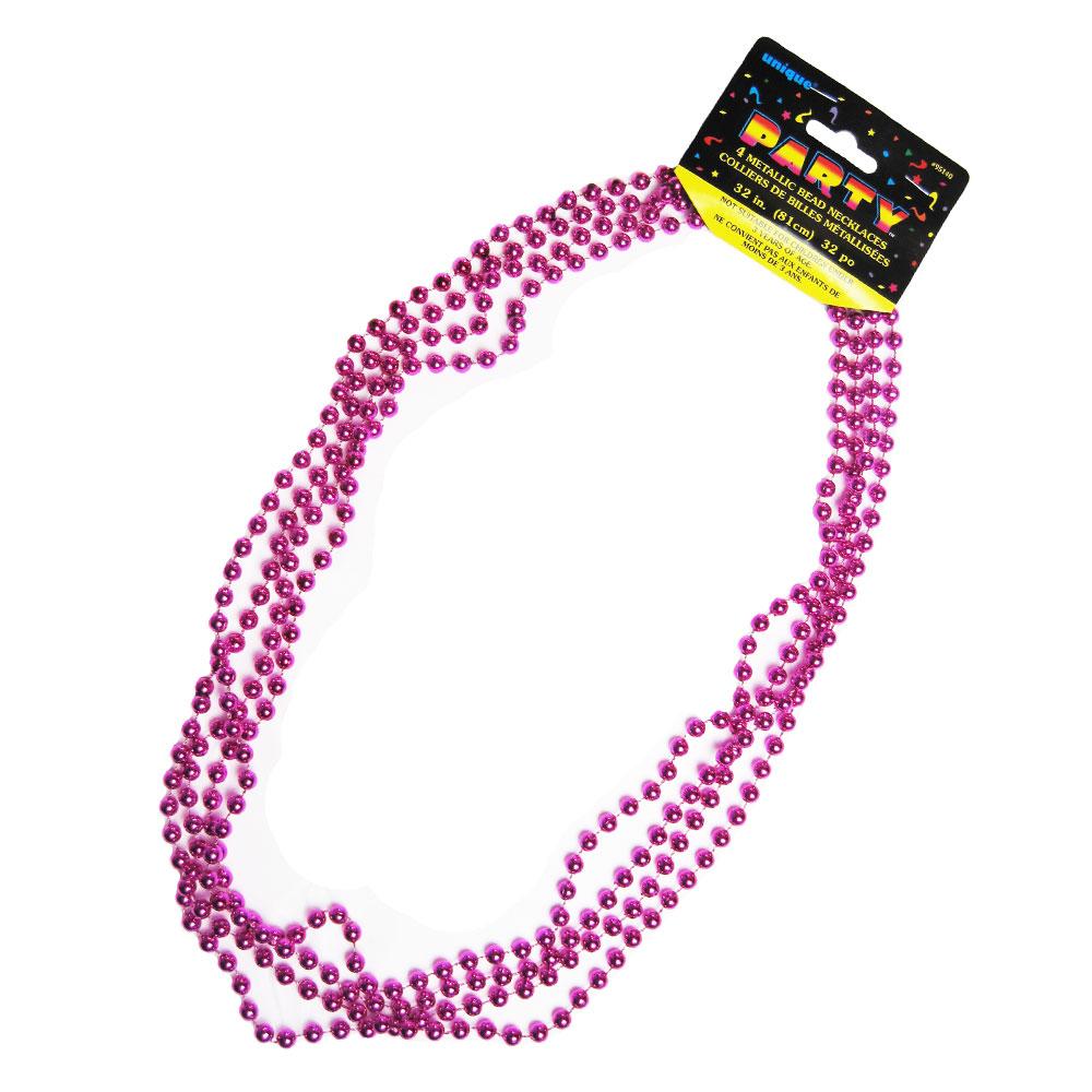 Party-Halsketten mit Perlen in Pink