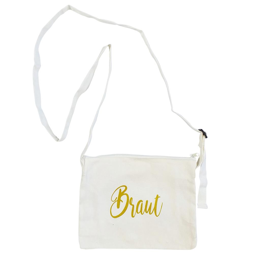 Weiße JGA-Handtasche mit goldfarbenem Braut-Schriftzug