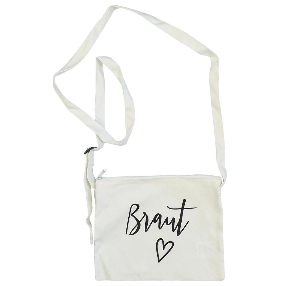 Weiße JGA-Handtasche mit Braut-Schriftzug im Herz-Design
