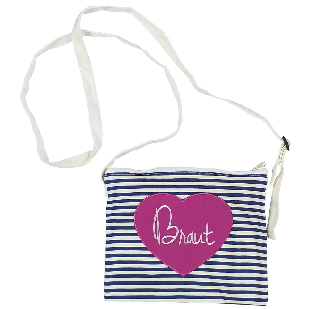 Blau-weiß gestreifte JGA-Handtasche mit Braut-Herz