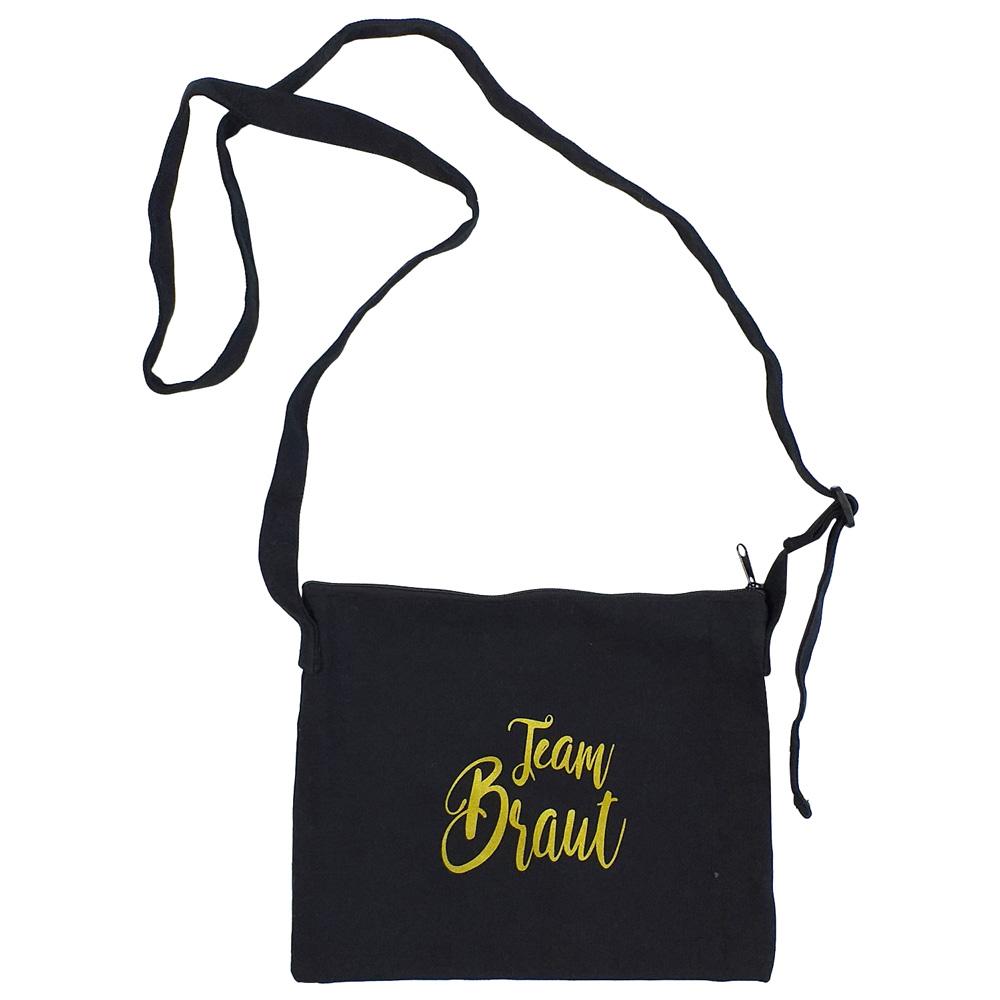 Schwarze JGA-Handtasche mit goldfarbenem Team Braut-Schriftzug