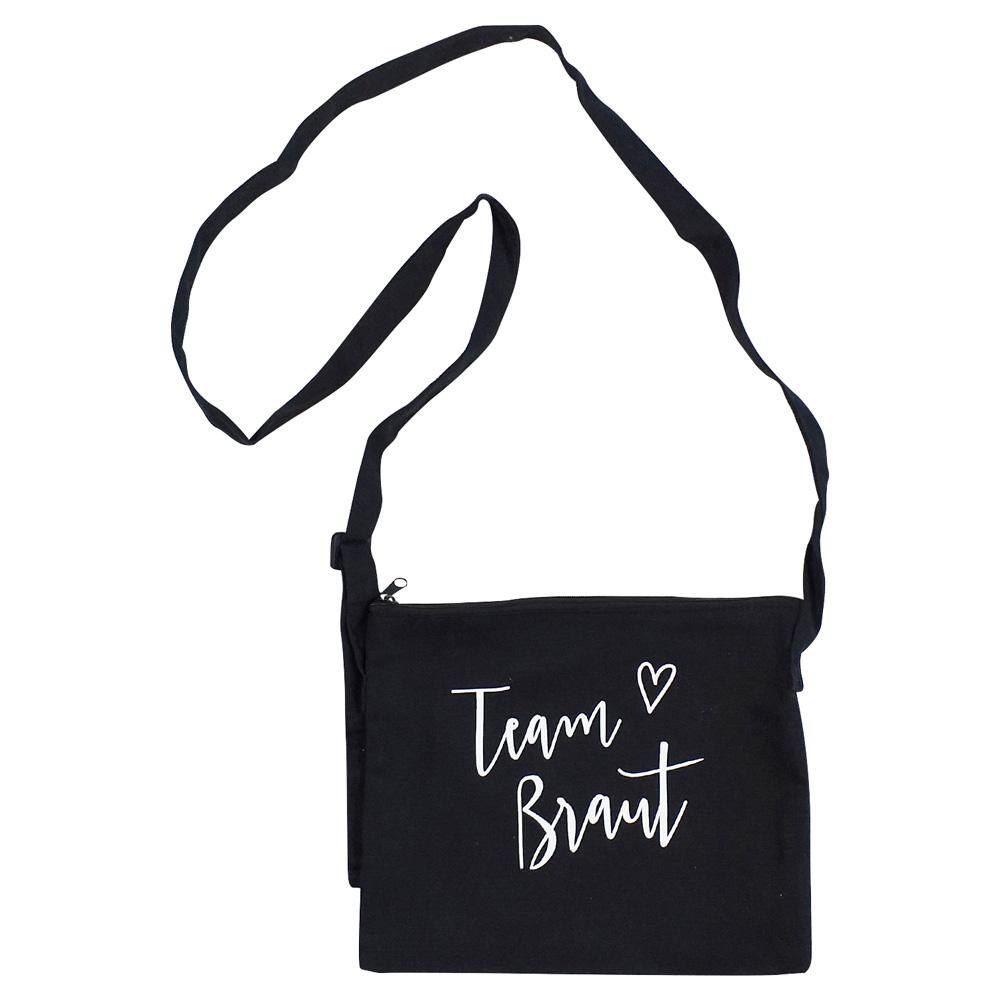 Schwarze JGA-Handtasche mit Team Braut-Schriftzug im Herz-Design