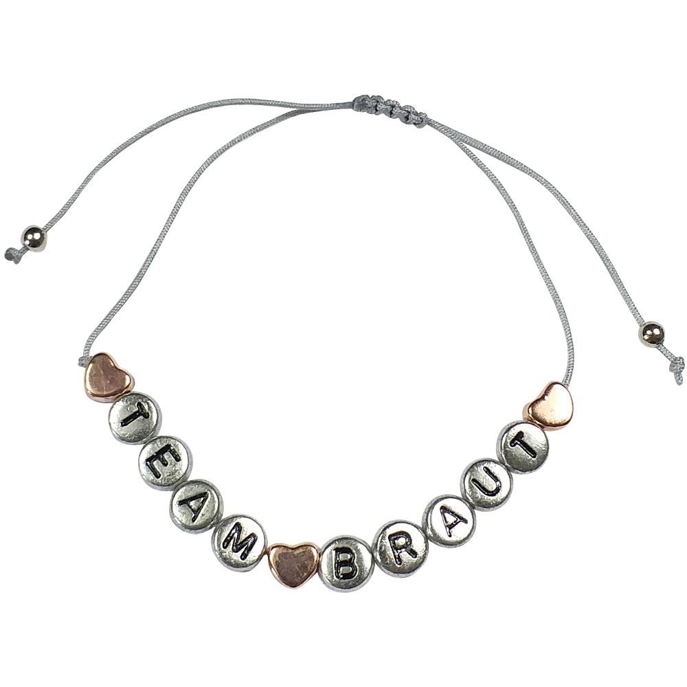 Silberfarbenes JGA Armband mit kupferfarbenem Herzen und Team Braut-Buchstaben