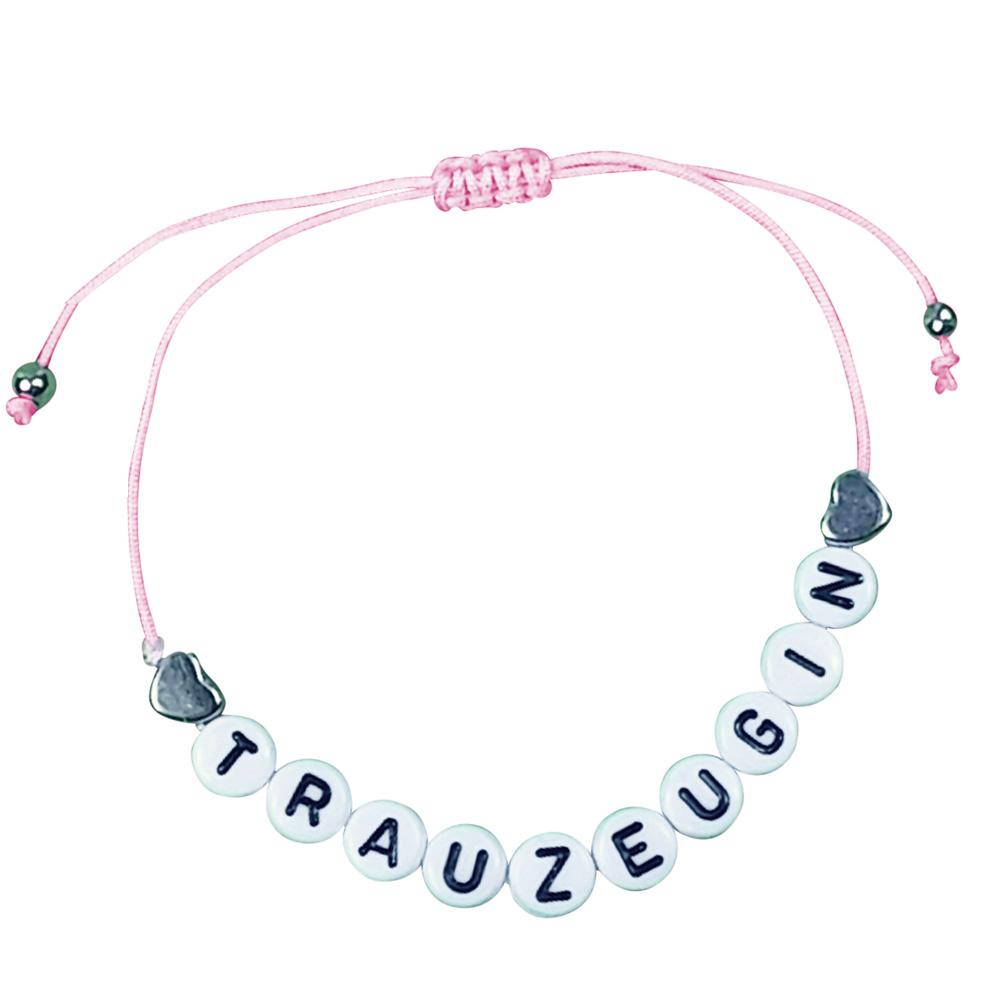 Rosafarbenes JGA Armband mit Herzen und Trauzeugin-Buchstaben