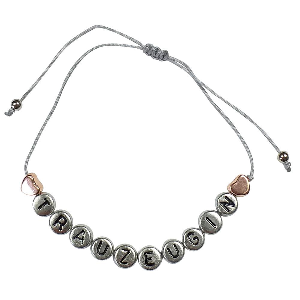 Silberfarbenes JGA Armband mit kupferfarbenem Herzen und Trauzeugin-Buchstaben