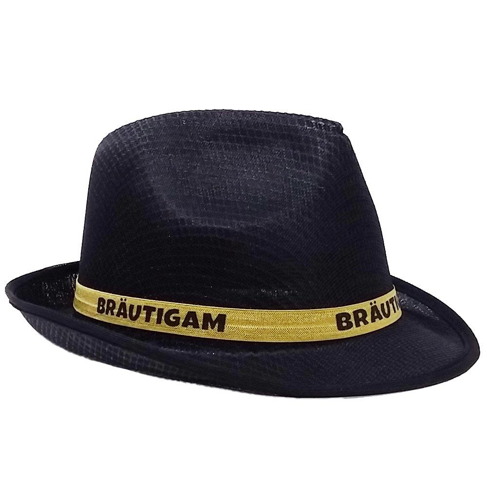 Schwarzer Gangster-Hut mit Braeutigam-Hutband fuer den JGA