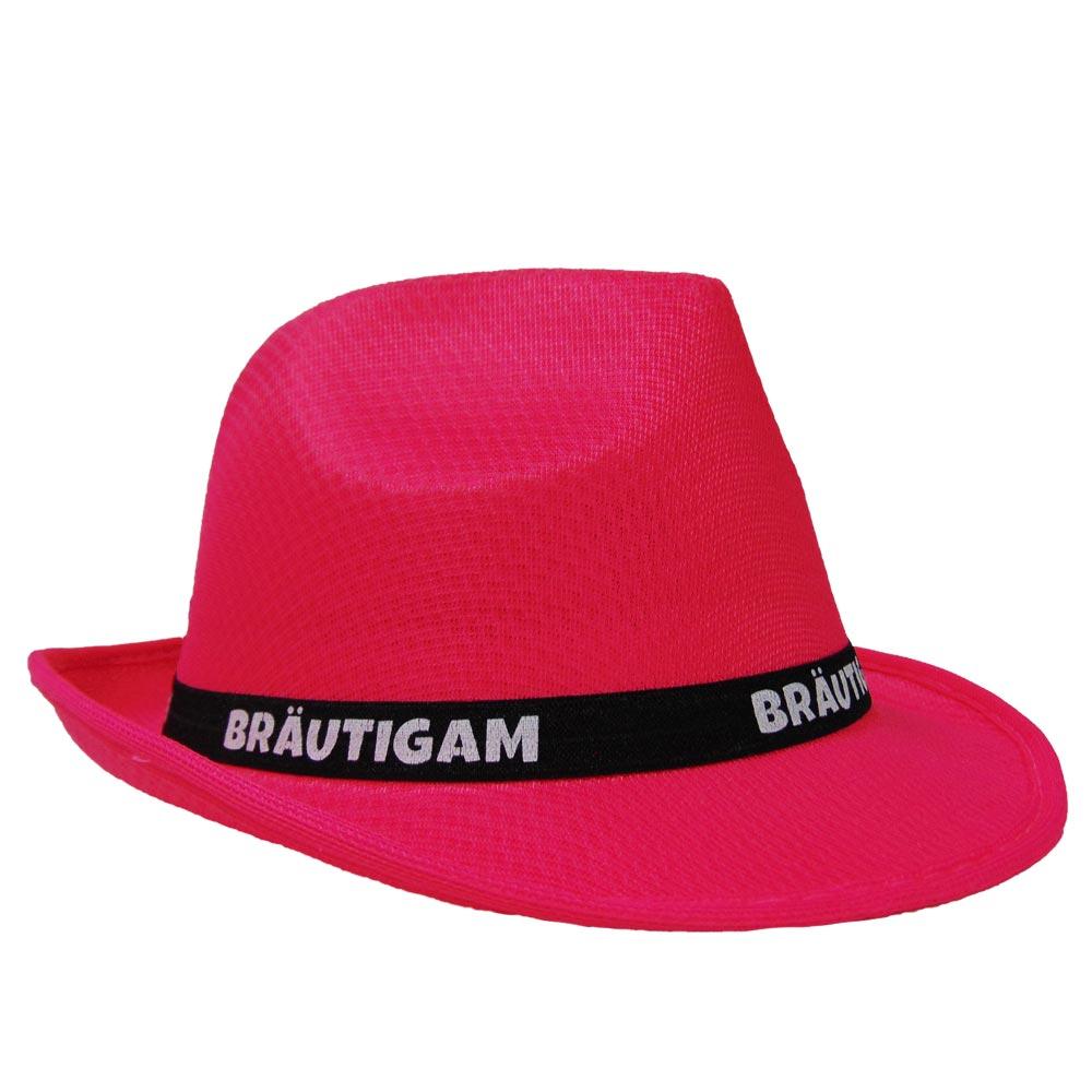 Pinkfarbener Gangster-Hut mit Bräutigam-Hutband für den JGA