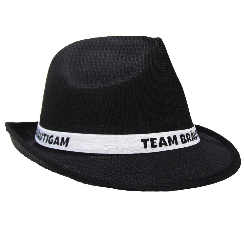 Schwarzer JGA Gangster-Hut mit Team Bräutigam-Hutband