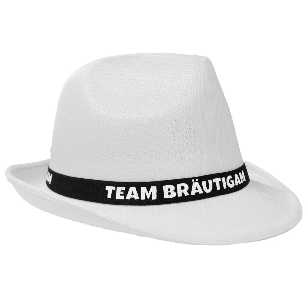 Weißer JGA Gangster-Hut mit Team Bräutigam-Hutband