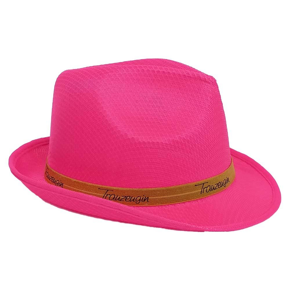 Pinkfarbener JGA-Hut mit goldfarbenem Trauzeugin-Hutband