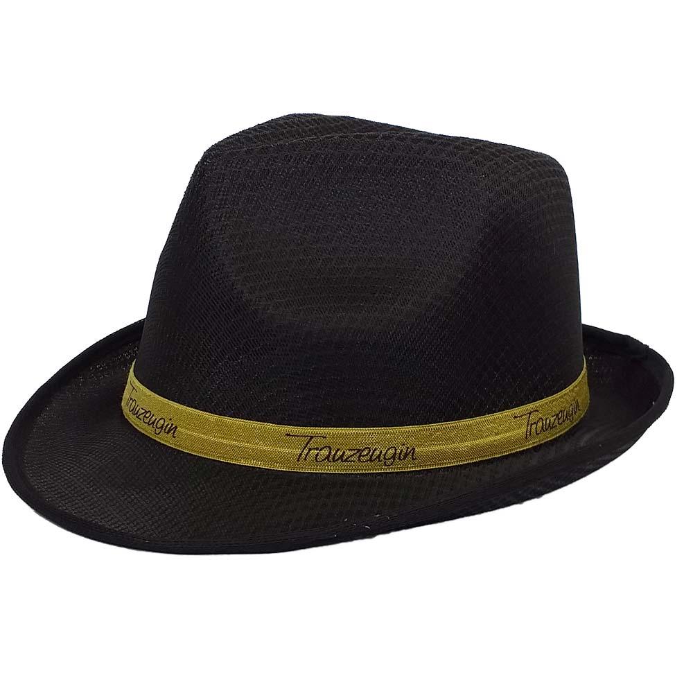 Schwarzer JGA-Hut mit goldfarbenem Trauzeugin-Hutband