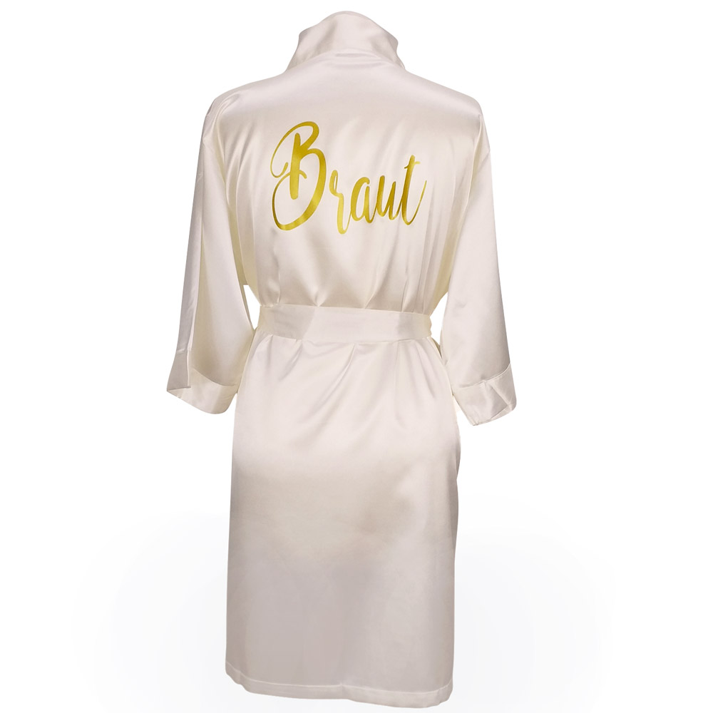 JGA Wellness-Bademantel Braut - Satin-Kimono in Elfenbein-Weiss