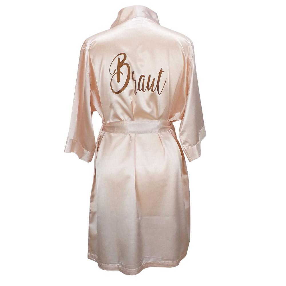 JGA-Bademantel Braut - Wellness-Satin-Kimono in Rose
