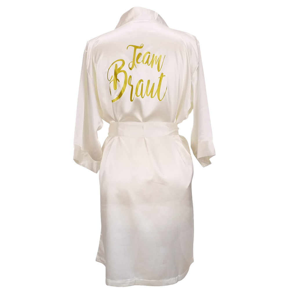 JGA Wellness-Bademantel Team Braut - Satin-Kimono in Elfenbein-Weiss