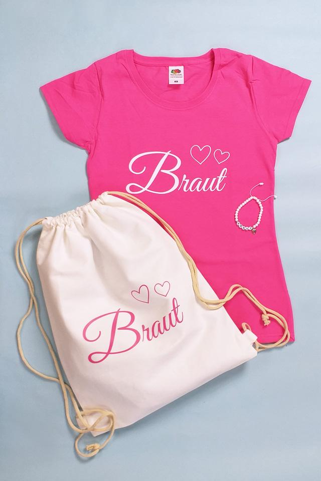 JGA Kleidung - Braut - Herzen in Weiss-Pink