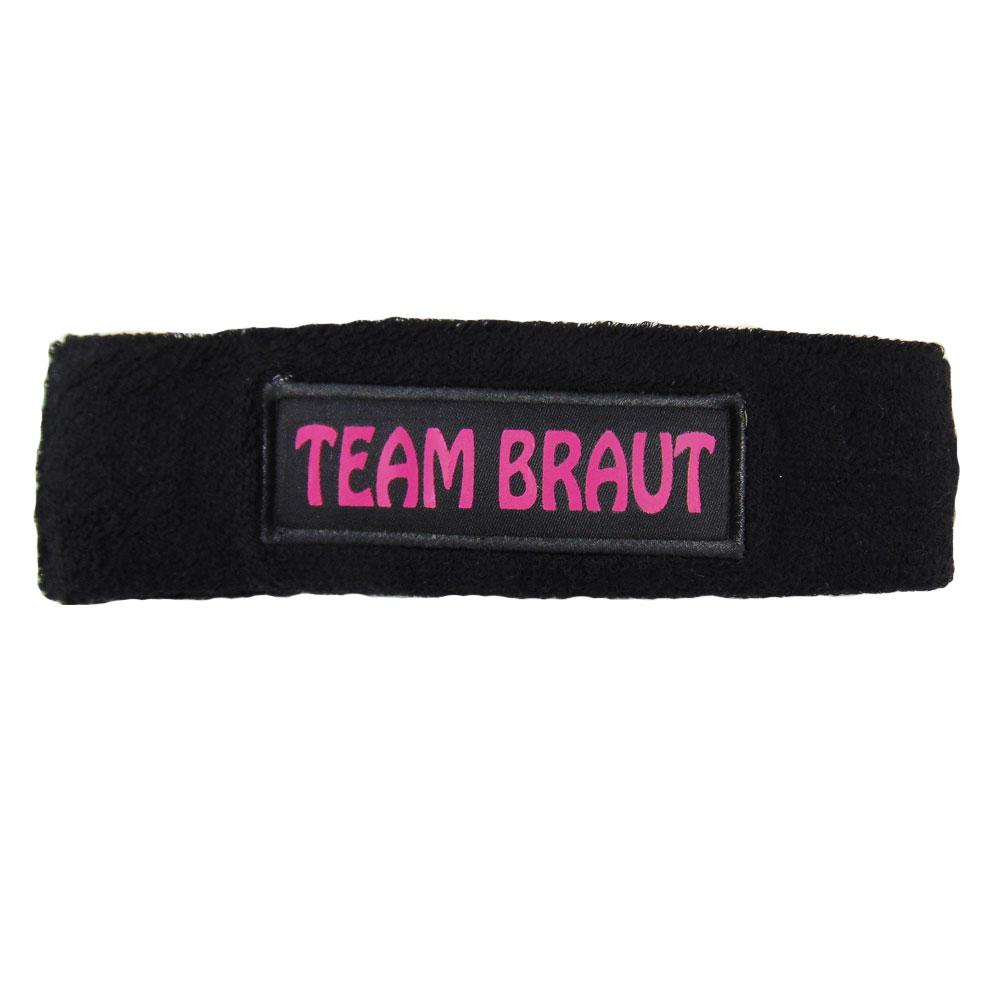 """Frottee-Stirnband mit Aufdruck """"Team Braut"""" in Schwarz"""