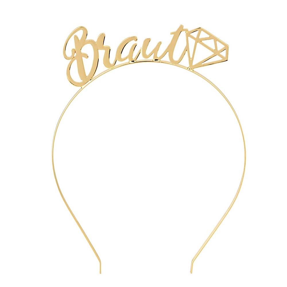 Goldfarbener Haarreif mit Braut-Aufschrift - JGA-Kopfschmuck