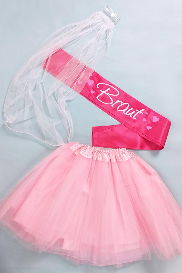 JGA Kostüm Braut in Pink-Rosa