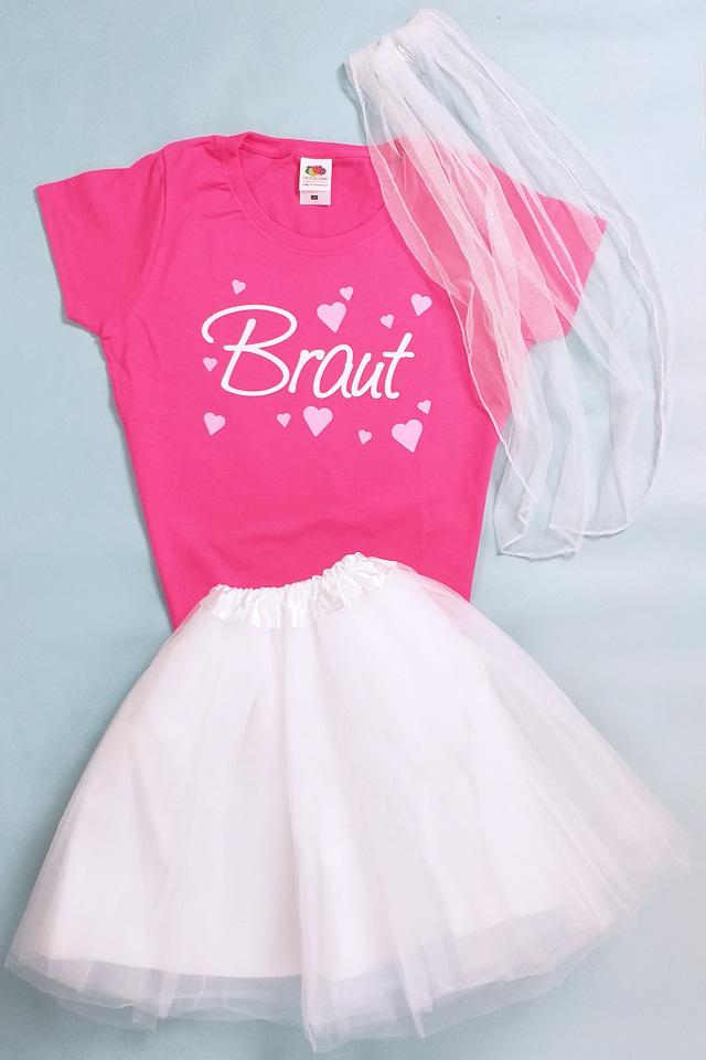 JGA Kostüm Frauen - Braut - Weiss-Pink