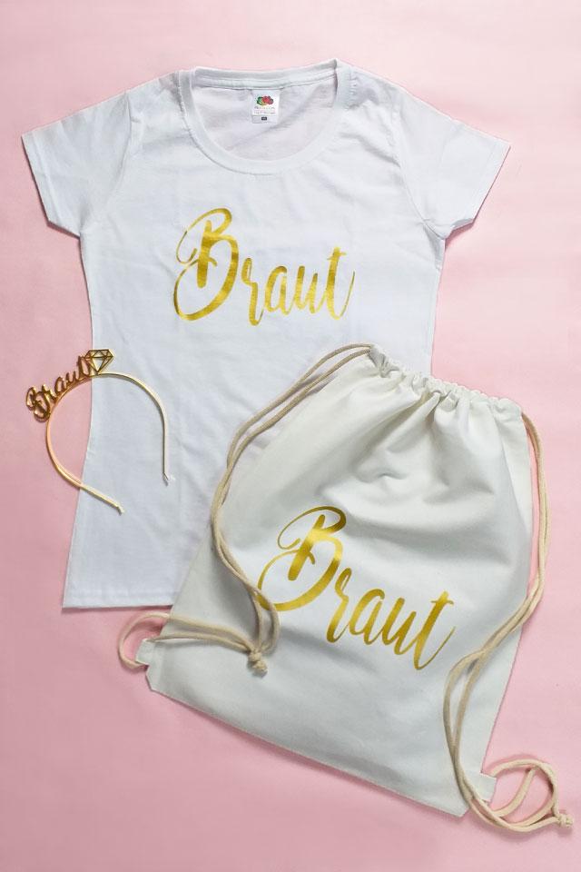 JGA-Kostüm für Frauen im Gold-Design - Braut-Set