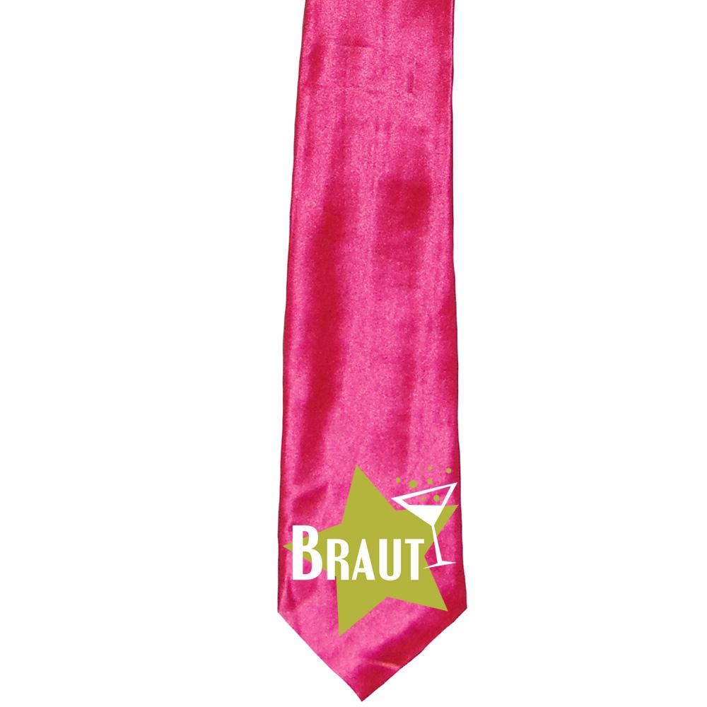 """JGA-Krawatte """"Braut"""" - Star - Pink"""