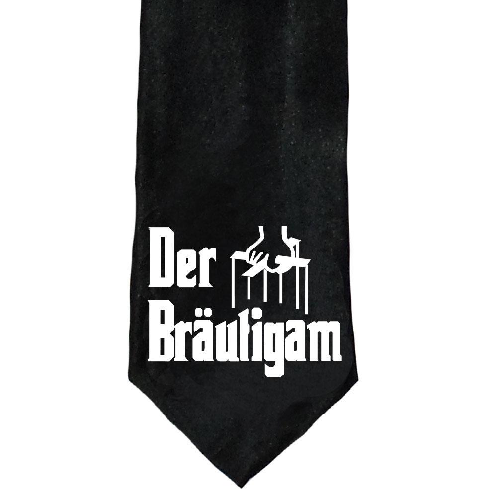 Schwarze Krawatte mit Bräutigam-Motiv für den JGA
