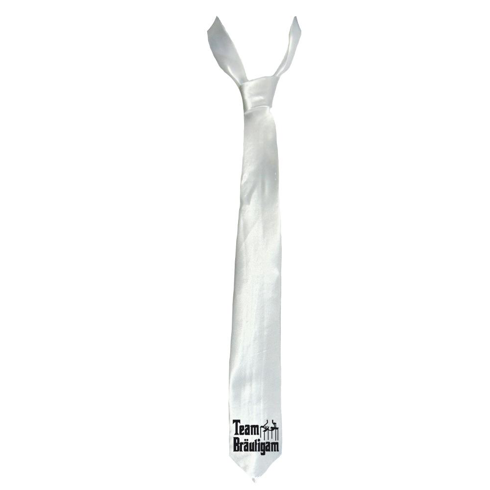 Weiße JGA-Krawatte mit Team Bräutigam Gangster-Motiv