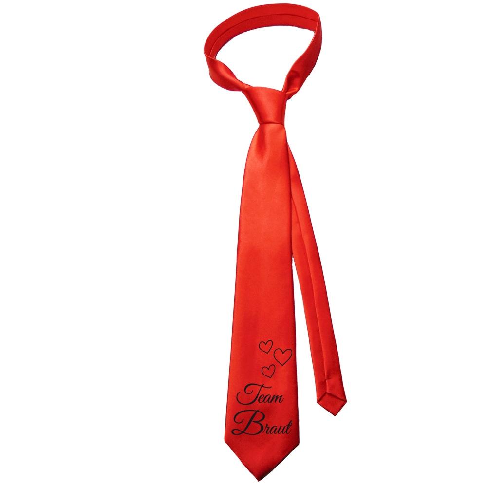 Rote JGA Krawatte mit Team Braut Aufdruck und Herzen