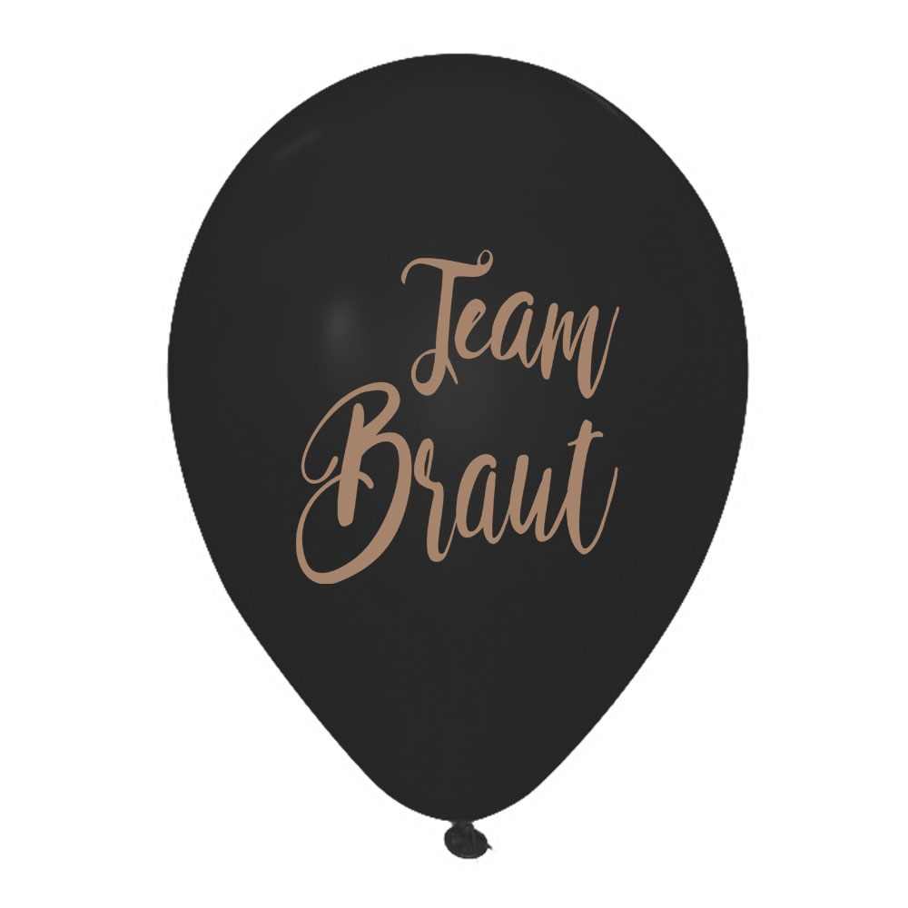 Schwarze JGA Luftballons mit goldfarbenem Team Braut Motiv