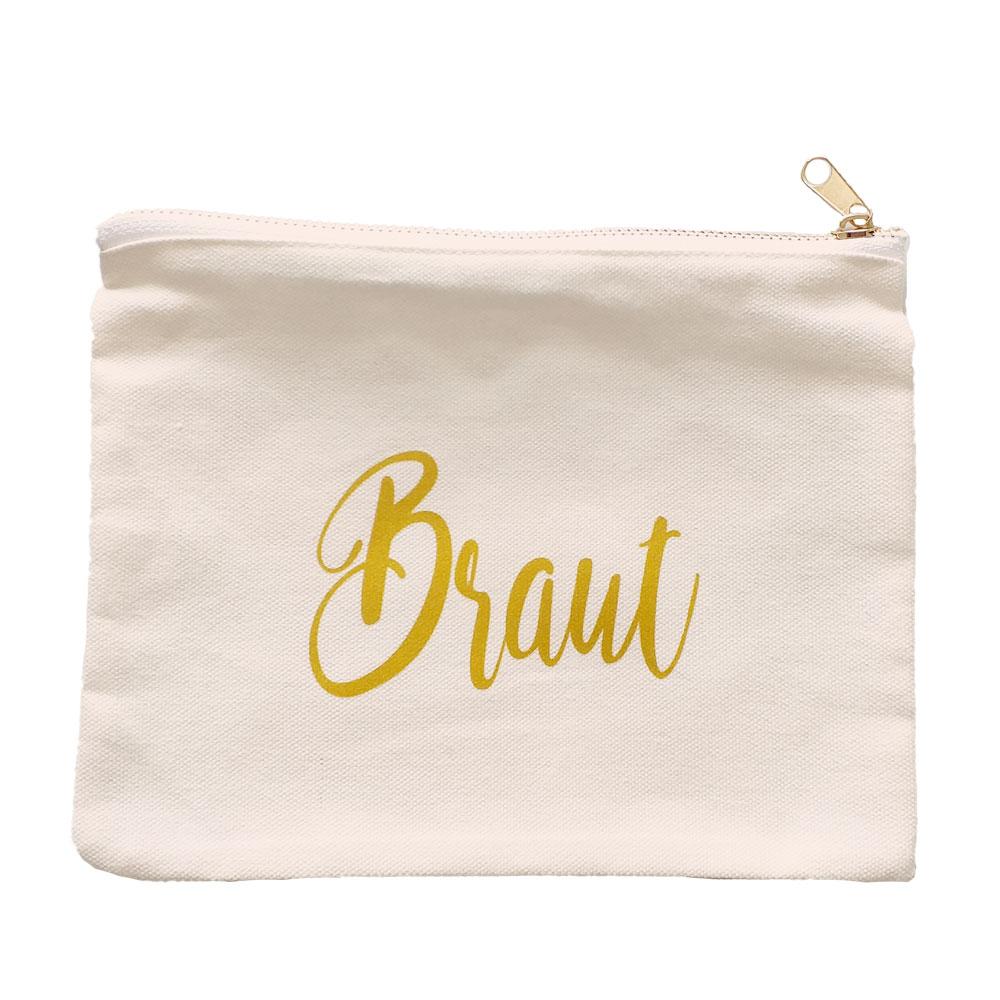 Weiße Make-Up-Tasche mit Braut-Schriftzug für den Junggesellinnenabschied