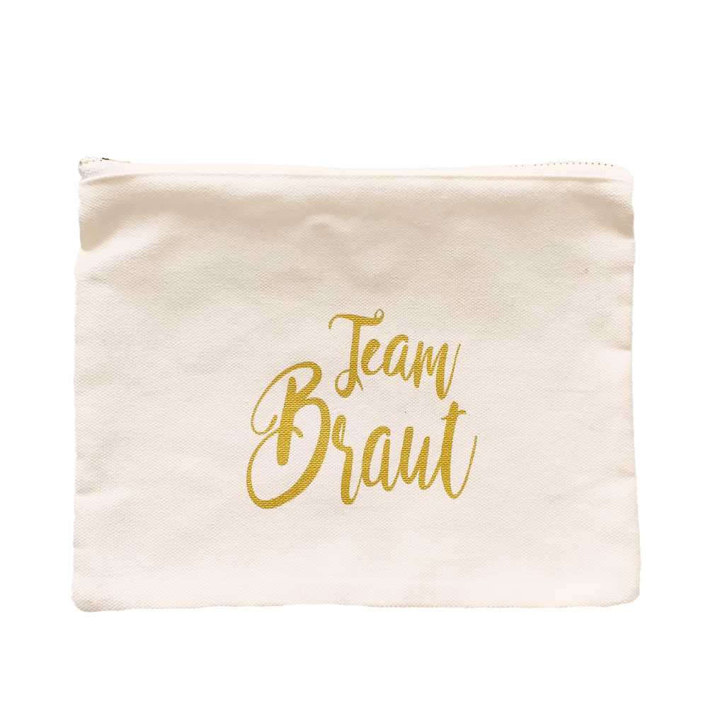 Weiße Make-Up-Tasche mit Team Braut-Schriftzug für den Junggesellinnenabschied